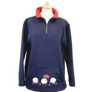 Ladies Pocket Tunic Embridered with 'Raining Sheep - Navy