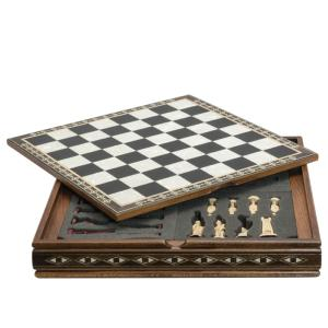 Mini Chess Board on Case Black and Eco Mother of Pearl