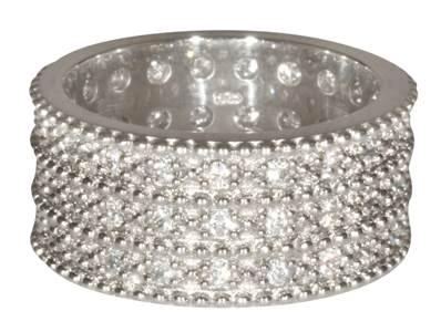 Triple Band from George IV Diadem One row beads silver CZ- Large