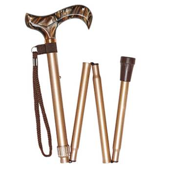 Marble effect Handle 4 Part Folding Stick - Gold - 95G