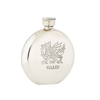 Round Pewter Flask 6oz with Wales Design - by Sgian Dubhs