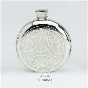 Pewter Flask 6oz Round with Celtic Scroll Design with Base Rim - EBP-31116 by Edwin Blyde.