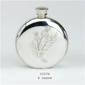 Pewter Flask 6oz Round with Thistle Design - EBP-31576 by Edwin Blyde.