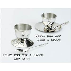 Pewter Egg Cup with ABC Foot and Spoon - EBP-95102 by Edwin Blyde.