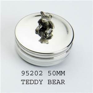 Pewter Childrens Box, 50mm Round Trinket Box with Teddy - EBP-95202 by Edwin Blyde.