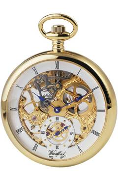 Woodford Gold Plated Open Face Skeleton Full Size Pocket Watch
