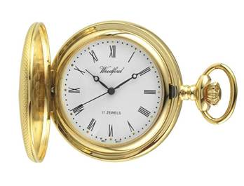 Woodford Mechanical Half-Hunter Pocket Watch, 1056, Gold-Plated Engine-turned Finish with Chain