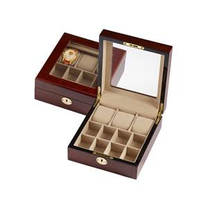 Dressing Table Box for 3 x Watches, Cufflinks & Accessories in Wood Veneer with Clear Lid - lockable