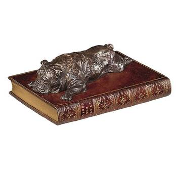 Boxer Laying on a Faux Book Paperweight