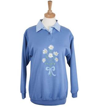 Ladies Embroidered Daisy Gingham Sweatshirt with Collar - China