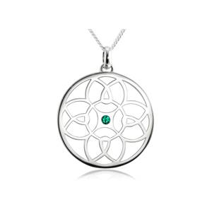 Sterling Silver Byzantine Pendant – Green Crystal