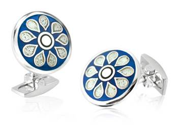 Teardrop - Blue Enamel Cufflinks