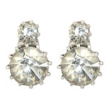 Queen Victoria's Two Stone Stud Earrings - Reproduction in crystal and silver plate