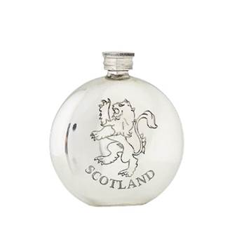 Pewter Hip Flask - 6oz Round featuring Lion Rampant - by Sgian Dubhs