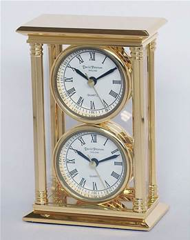 mantel clock - 24k gold plated solid brass - 2 x faces/ movements - desk clock - SKC02