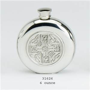 Pewter Flask 6oz Round with Celtic Cross Insert Design - EBP-31626 by Edwin Blyde.