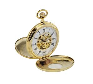 Woodford Gold Plated Mechanical Twin Lid Pocket Watch 1077