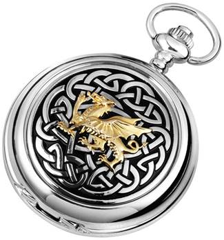 Woodford Full Hunter Chrome/Pewter Celtic Dragon Pocket Watch 1912
