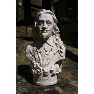 Miniature Bust of King Charles 1 in Gypsum Plaster