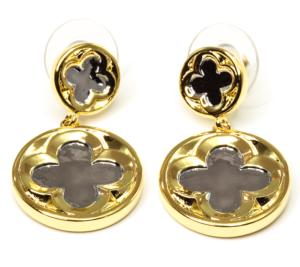 Tudor Quatrefoil Silver and Gold Drop Stud earrings